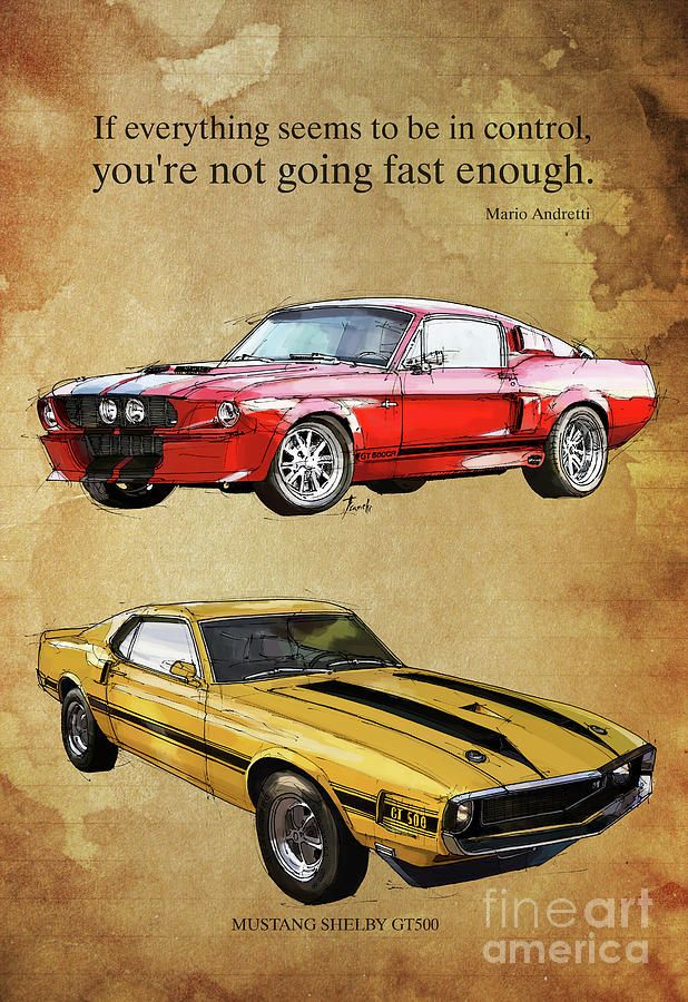 Mustang Gt500 Ayrton Senna Inspirational Quote, Handmade Drawing, Two Portraits Digital Art by Pablo Franchi
