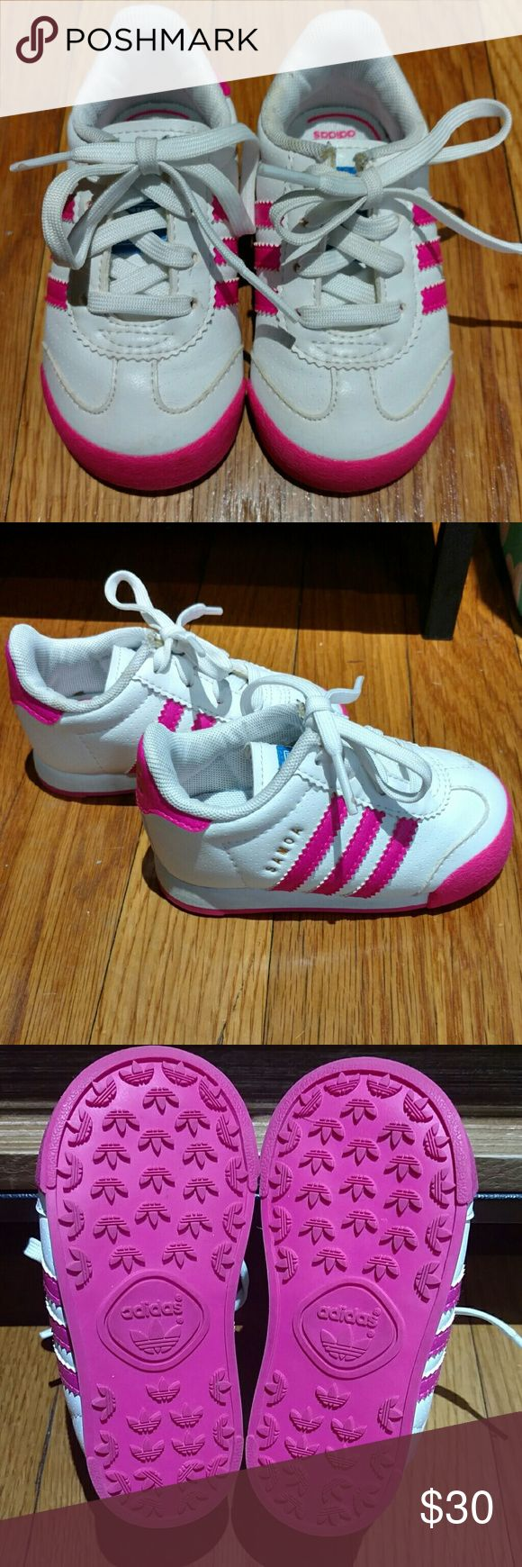 Adidas Samoa Toddler Girls Toddler girls white/pink Samoa sneaker. Worn probably 2 times. Practically like new. Adidas Shoes Sneakers