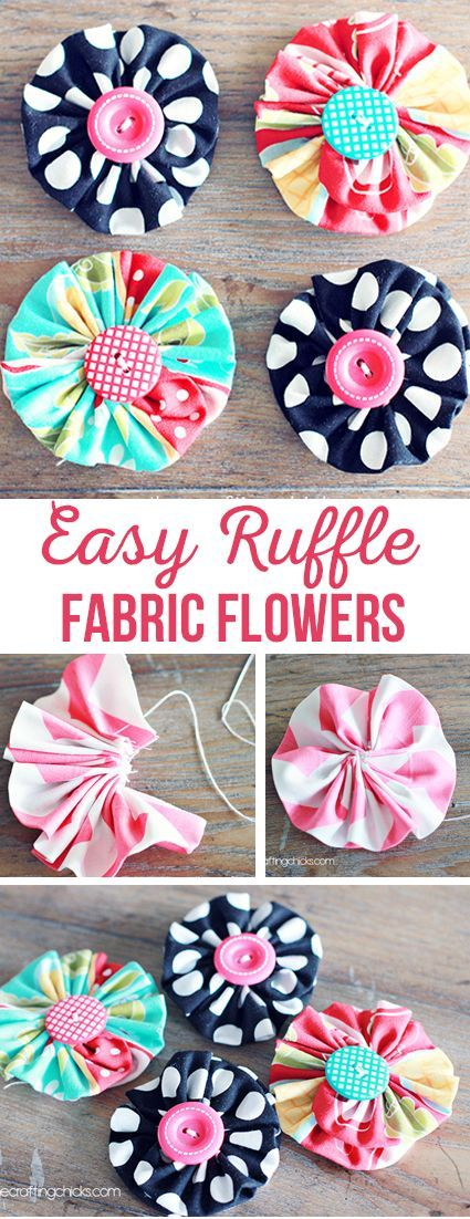 Easy Ruffle Fabric Flowers via @craftingchicks