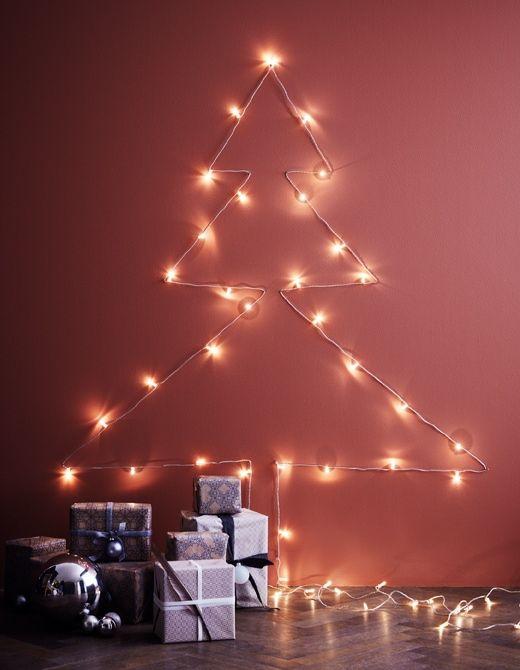lichterkette dekorieren mit stil weihnachtslichter dekorative beleuchtung wanddekoration fischschwarm hirschkopf wanddeko silber