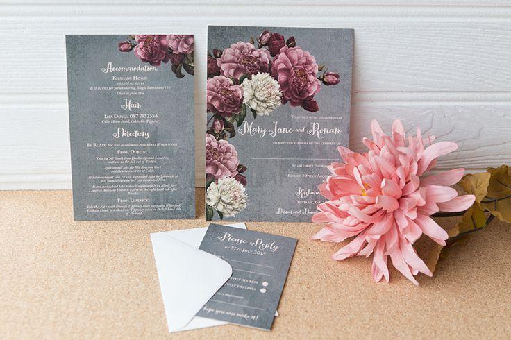 Black and white, romantic   floral chalkboard wedding invitation