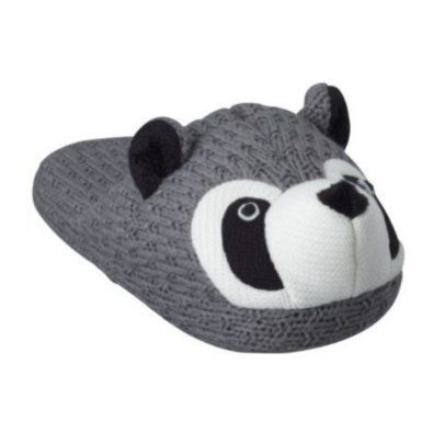 Womens Gray Knit Raccoon Slippers Slide On House Shoes Animal Scuffs Grey Target. $27.99