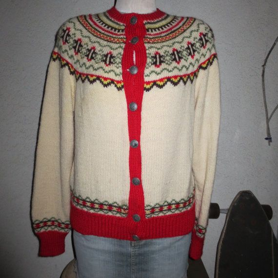vintage hand netted sweater made in Norway color white red mix