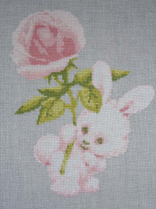 """Bunny with Rose"" cross stitch pattern"