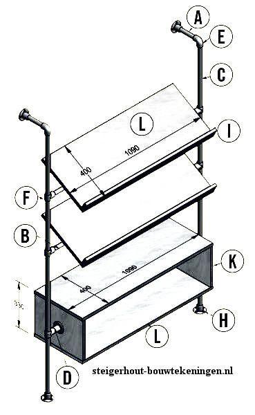 Doe het zelf lectuurrek bouwtekening voor een rek voor tijdschriften van steigerbuizen en buiskoppelingen. Eenvoudige gratis handleiding, lectuurbak maken.