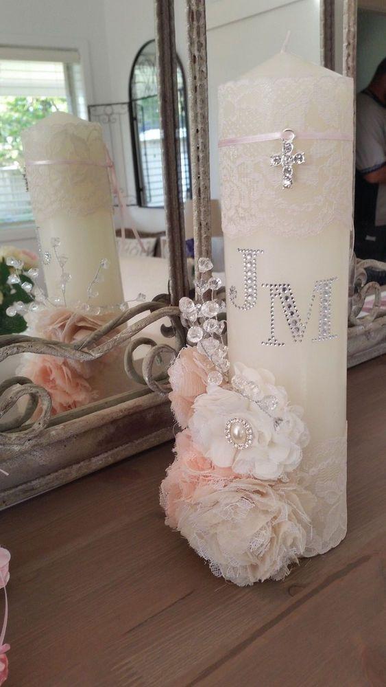 Large 30cm Vintage candles Wedding, Engagment, Christening Baptism Personalised shabby Chic