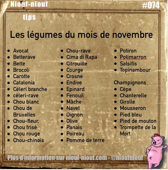 Tip Niouf-niouf : les légumes de saison à consommer en novembre #légumes #cuisine #november #trucs #astuces - demain, les fruits et après-demain : les viandes, poissons, crustacés et fromages du mois de novembre