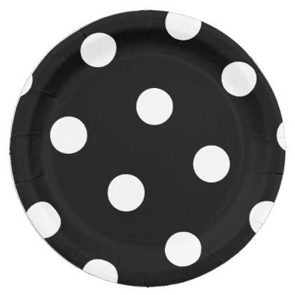 Large White Polka Dot Pattern - Custom Color Black Paper Plate - kitchen gifts diy ideas decor special unique individual customized