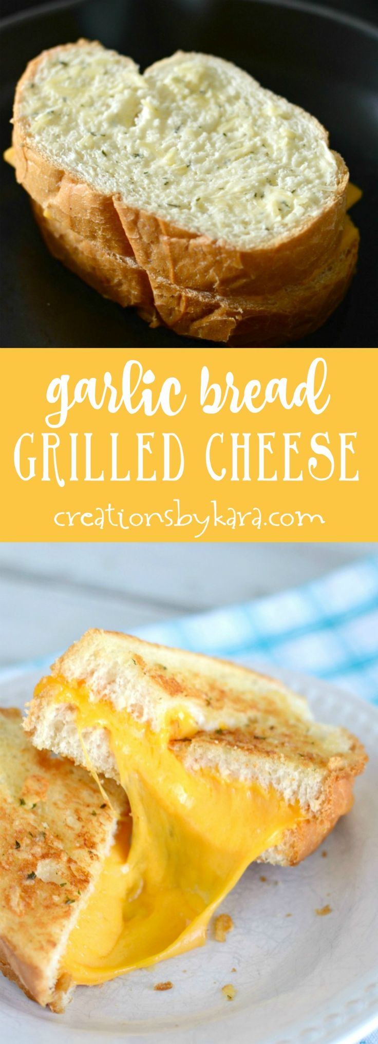 Give these garlic bread grilled cheese sandwiches a try. They are packed with flavor! A tasty update on a classic sandwich! via creationsbykara.com