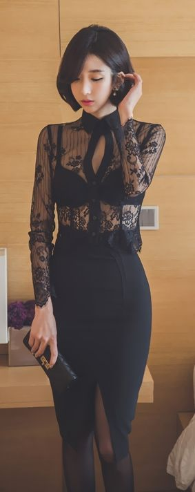 Otra falda, o un pantalón. Latest fashion trends: Women's fashion | High waist pencil skirt and sheer lace long sleeves blouse