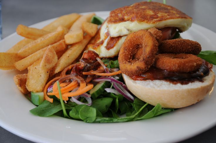 Halloumi burger  at Cruisers Cafe Bar and Grill, Portside Wharf, Brisbane  www.cruiserscafebargrill.com.au   https://www.facebook.com/CruisersCafeBarandGrill