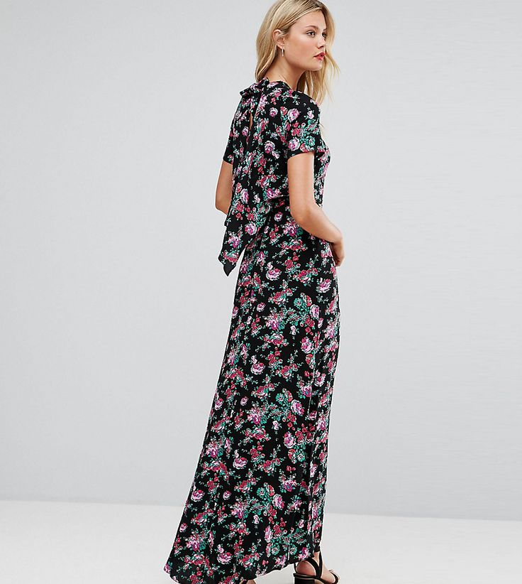 ASOS TALL Maxi Dress with Deconstructed Back in Floral Print - Multi