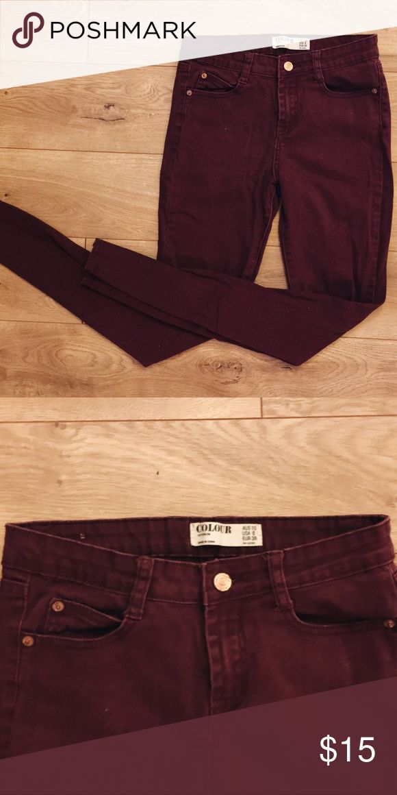High rise burgundy skinny jeans These are high rise but not high waisted skinny jeans. Cotton On Jeans Skinny
