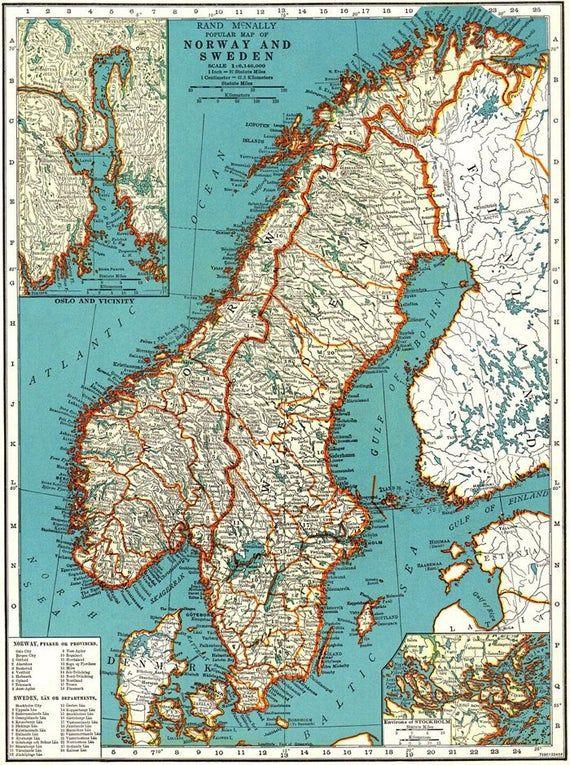 Vintage Sweden Norway And Denmark Map Digital Scandinavia Map Printable Antique Map Scandinavian Print Old Printable Map In 2020 Sweden Map Norway Map Denmark Map