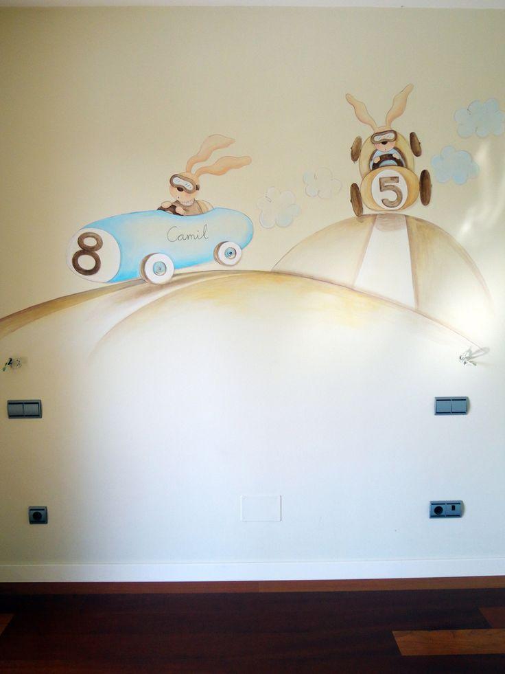 coches pintados en la pared