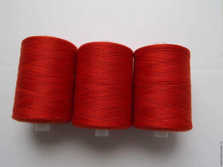 Купить Нитки №45 красный, большая бобина, 2500 метров - ярко-красный, светлый, темный