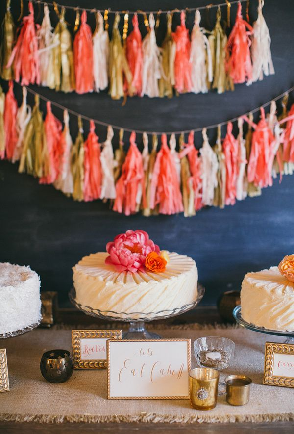 cake table with tassel #garlands