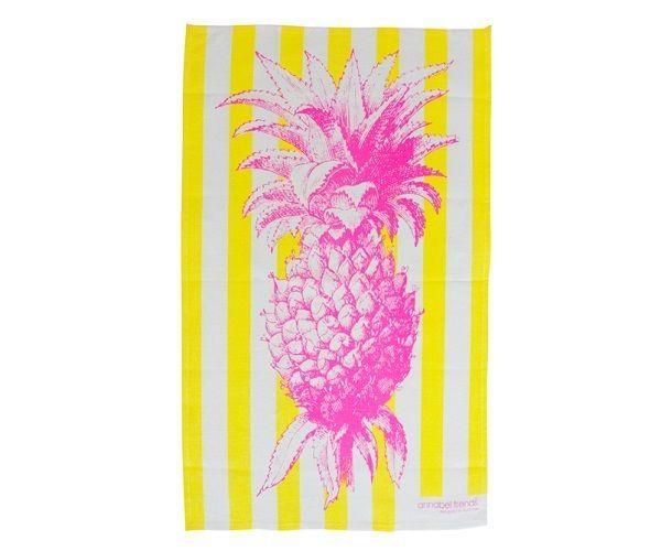 Pineapple Design Linen Tea Towel Super Absorbent Annabel Trends Quality Kitchen