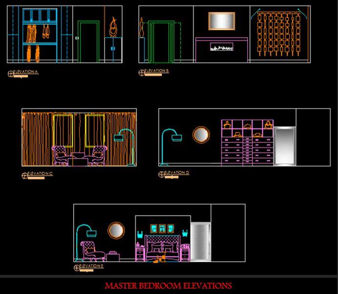 Computer Generated Elevations (Walls) of Same Bedroom.