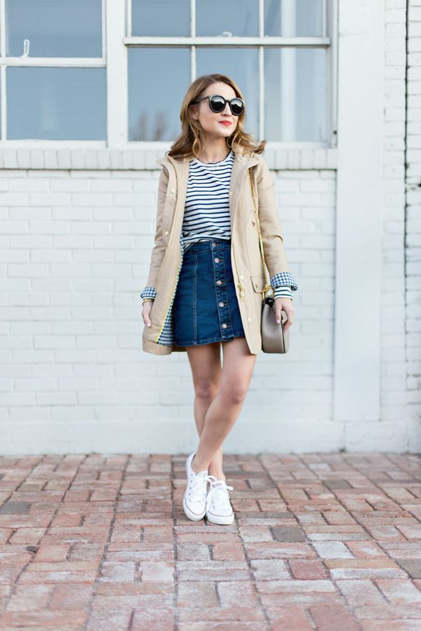 74c62f5f82 Stripes, Button-Up Denim, & the J.Crew Chateau Tre... | Spring & Summer in  2019 | Skirt outfits, Jean skirt outfits, Denim skirt outfits