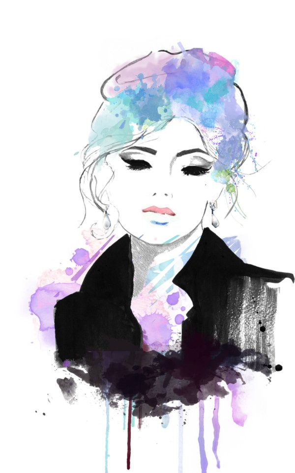 """""""~watercolor face~"""" by hbamiga ❤ liked on Polyvore"""