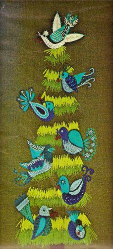 "Vintage Paragon ""Bird Tree"" Crewel Embroidery Kit"