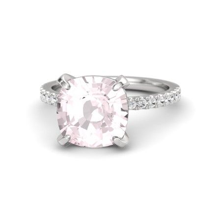 Cushion Rose Quartz Sterling Silver Ring with White Sapphire | Cushion-Cut Candace Ring (10mm gem) | Gemvara