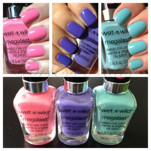 wet n wild megalast nail polish -  cheap, coats nicely and lasts! the brush is the best part!