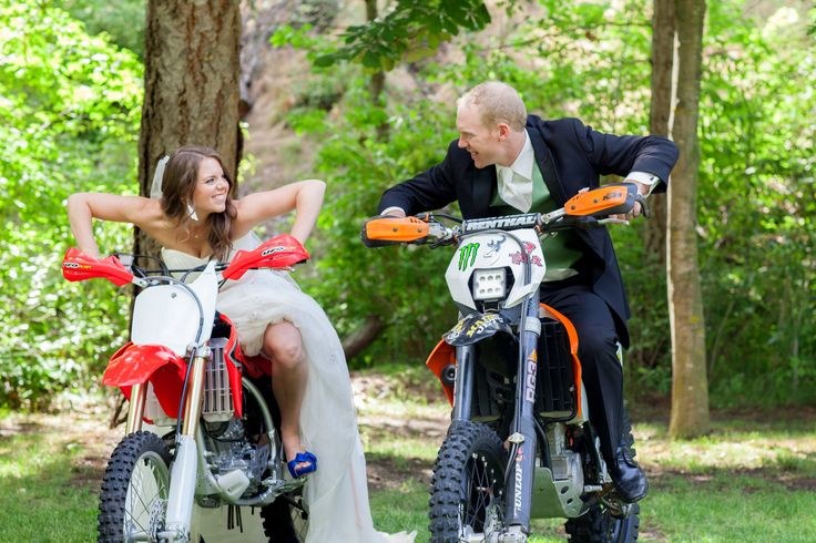 Dirt bike wedding Bride and groom Honda and KTM dirtbike   Renee and Wes June 14,2014