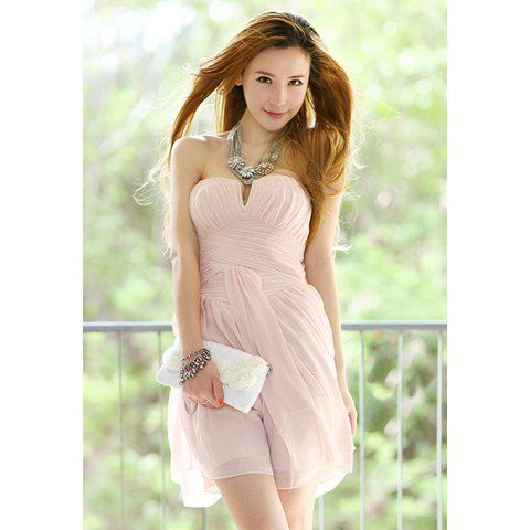 Light Pink strapless little v-neck homecoming semi formal dress chiffon dress