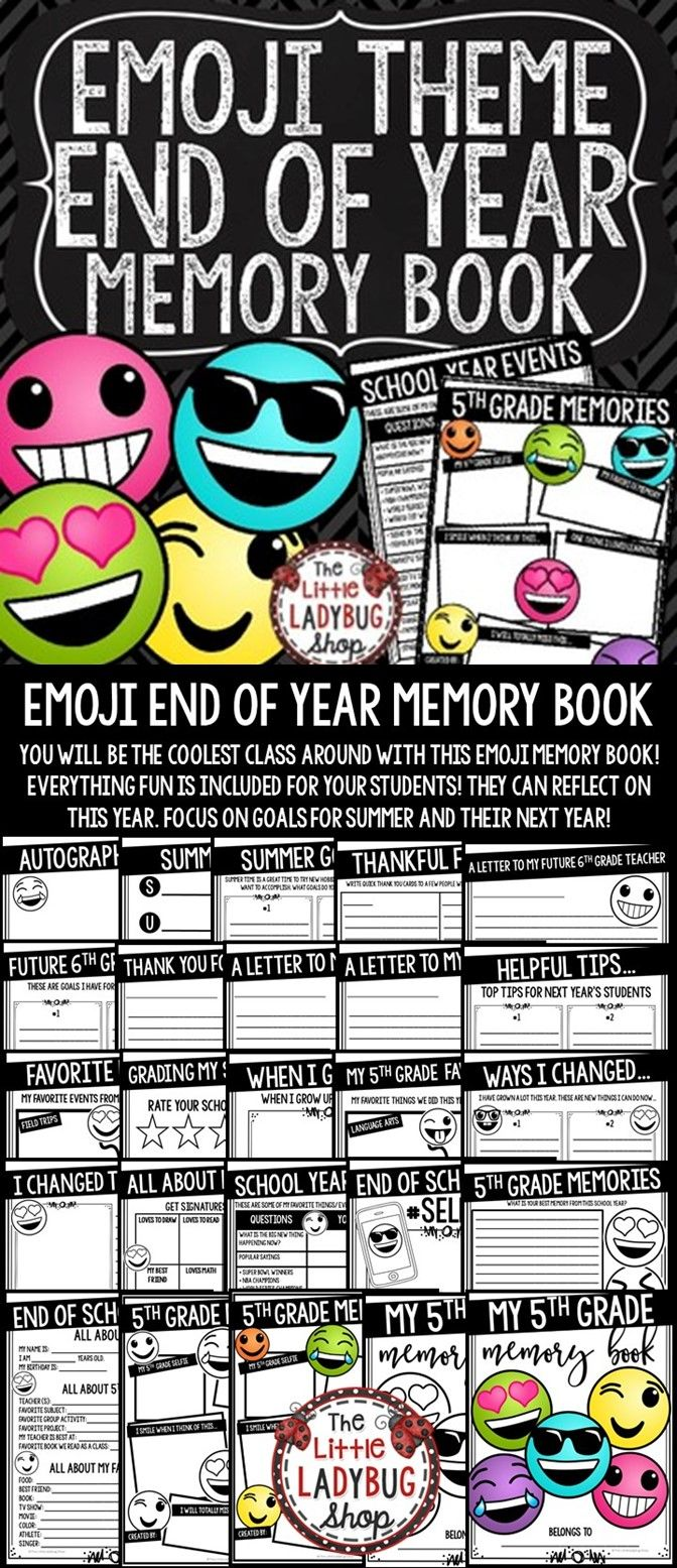 You will LOVE this Emoji End of The Year Memory Book for your 5th Grade students! You will truly be the Coolest Classroom with this fun activity book! It is perfect for your students to reflect on their school year! This Memory Book includes meaningful activities to use the last few days of school. Your students will LOVE completing this End of the Year Activities!