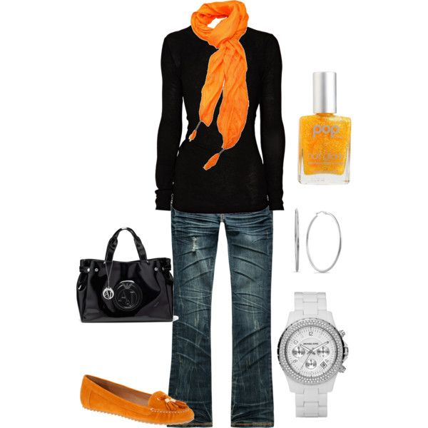 """Hey ya'll can still look """"chic"""" while taking your kids trick or treating:) Love this.: Fashion, Casual Halloween Outfit, Color, Clothing, Orange Scarfs, Fall Outfits, Halloween Outfits, Cute Outfit, Fall Styles"""