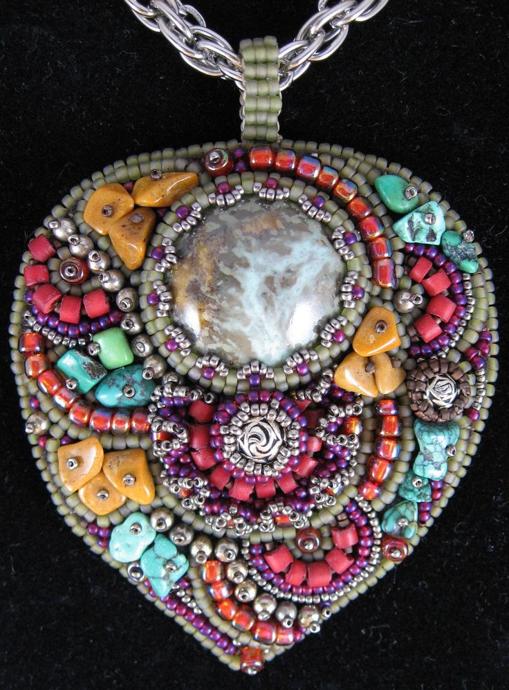 """My Pretty Pendant"" necklace by Cindy Caraway - jewelry, bead embroidery, handcrafted clay cabochon"