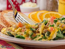 SOUTHERN BREAKFAST SCRAMBLE: | mrfood.com ~This down-home southern-style breakfast is sure to have everyone scrambling out of bed. Get out your skillet and cook up a batch of this eye-opening Southern Breakfast Scramble soon!