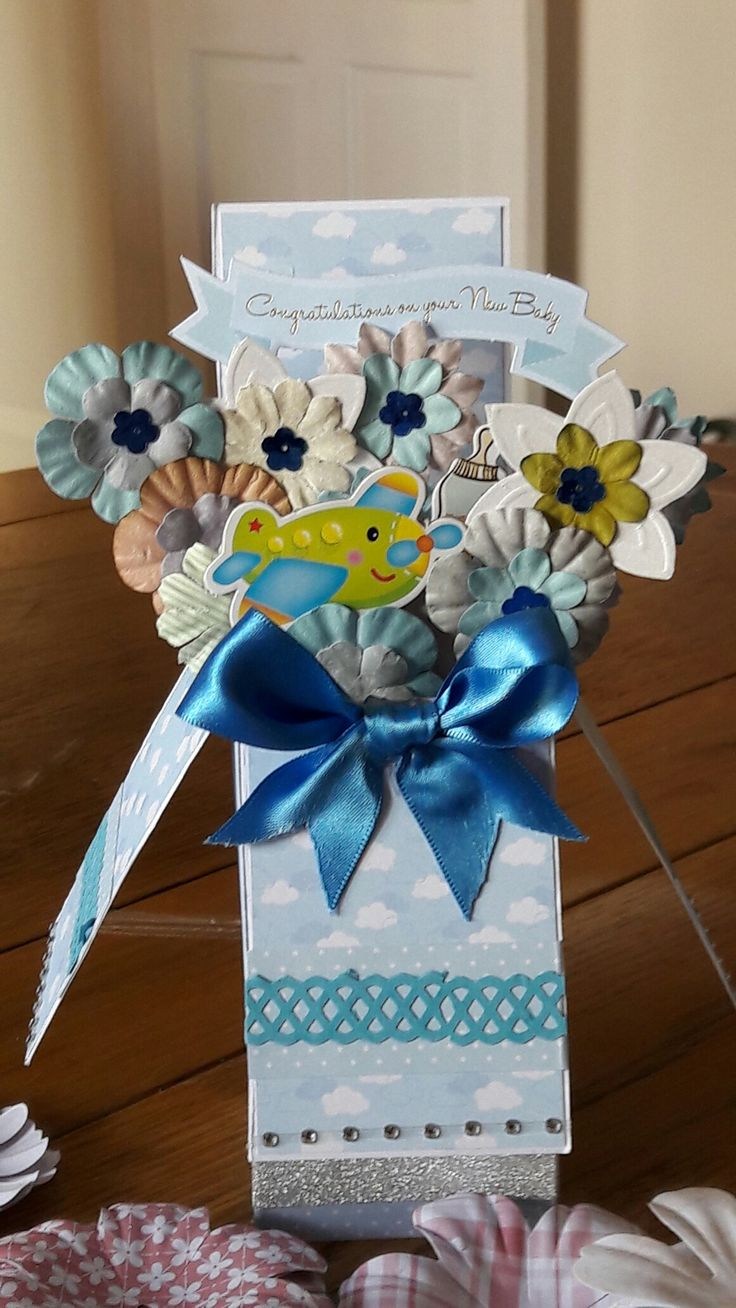 Pop up box card for a new baby boy.