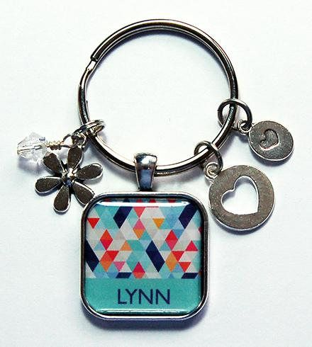 Personalized Keychain Geometric Design Keyring with name