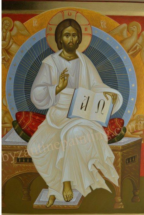 Icoana pictata Iisus Hristos pe Tronul Slavei (2)