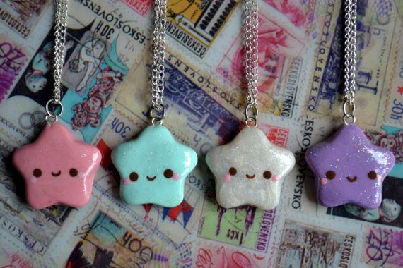 Kawaii Glitter Star Necklace Variations by CheekyCharmz on Etsy, $8.00