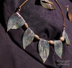 copper leaf necklace - Google Search