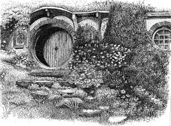 Pen and Ink Drawings of Houses | Bag End pen and ink drawing an 8X10 print by Skadoodled on Etsy