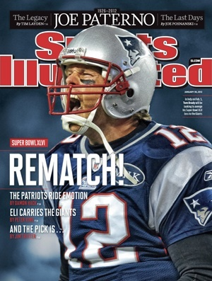 # In September 2008, New England Patriots quarterback Tom Brady appears on the cover of the NFL season preview issue. Brady tore the ACL and MCL in his left knee minutes into the season opening game to the Kansas City Chiefs.    (source: Wikipedia)    Is this another curse?