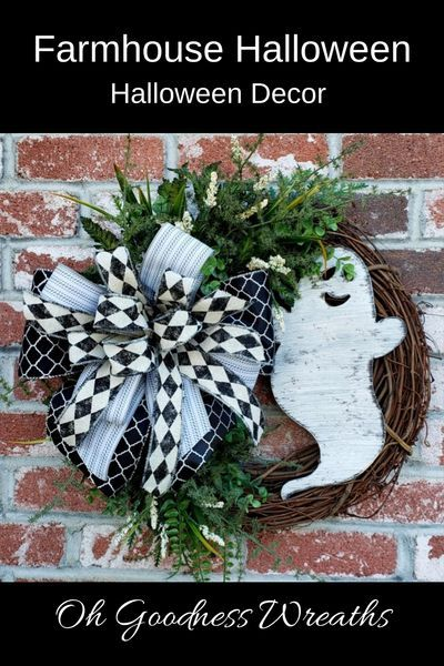 White House Christmas Decorations 2020 Ghost Halloween Wreath Black and White Ghost Wreath Fall Office | Etsy