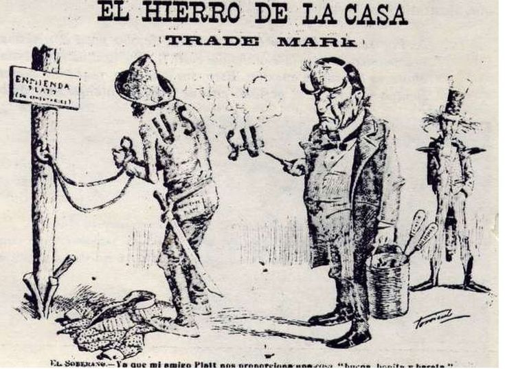 """The Iron of the House"".  This cartoon depicts McKinley branding Cuba, who is chained to a post entitled ""The Platt Amendment"" in the name of the US.  Uncle Sam looks on in the background.  This speaks to the greater theme of foreign intervention in Latin America as experienced by Latin Americans."