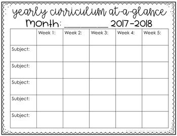 Keep track of the overall big picture with this Monthly Curriculum Map! Editable in fields in tables in Power Point.  Must have Power Point to use.Updated for the 2017-2018 school yearThis download has a simple template for either 5, 6, or 7 subjects.
