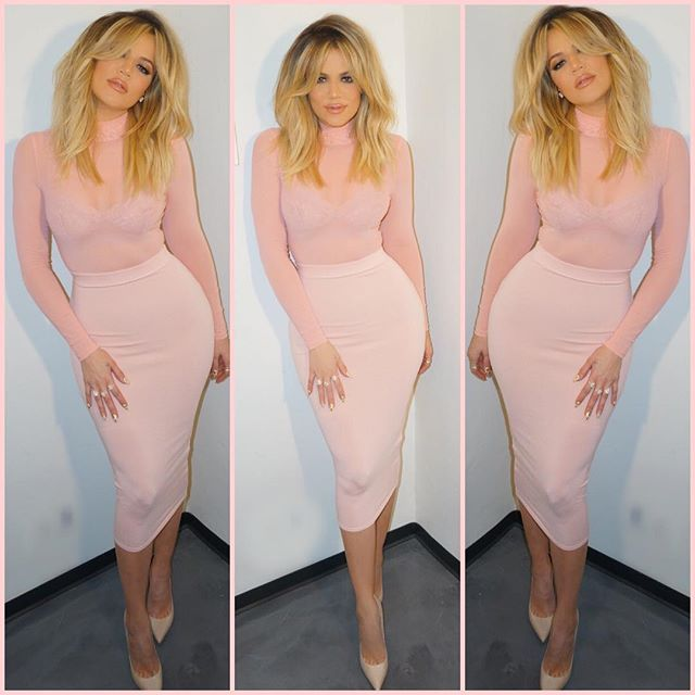 Khloe Kardashian flaunted her curves in a tight all-pink outfit while filming E!'s 'Revenge Body' — more photos here!
