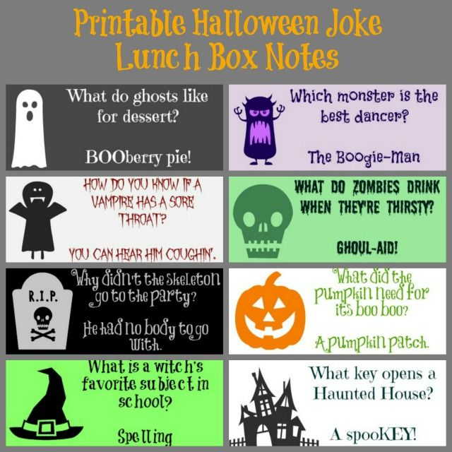 Printable Halloween Joke Lunch Box Notes