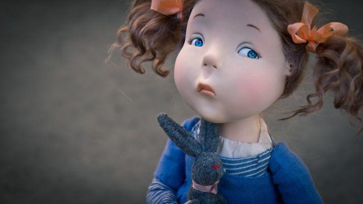 Купить Мой заяц - синий, девочка, заяц, авторская кукла, любить и жаловать, livingdoll, трессы
