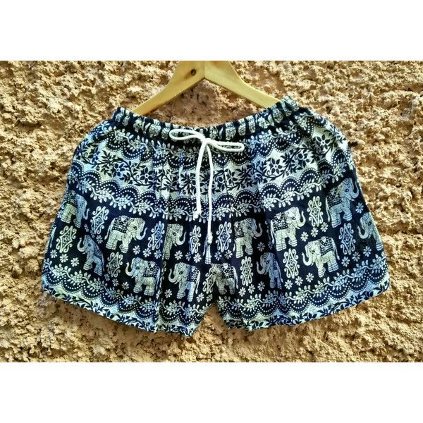 Elephants Shorts Print Boho Tribal Style Beach Hippies Hipsters... ($6.50) ❤ liked on Polyvore featuring men's fashion, men's clothing, mens beach wedding apparel, hipster mens clothing, bohemian mens clothing and tribal mens clothing