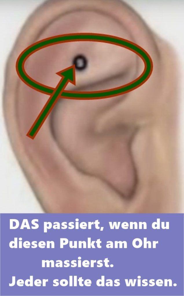 DAS passiert, wenn du diesen Punkt am Ohr massierst. Jeder sollte das wissen.