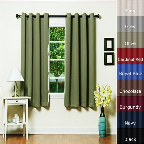 """Grommet Top Thermal Insulated Blackout Curtain 63"""" Length 1 Pair - GT ..."""